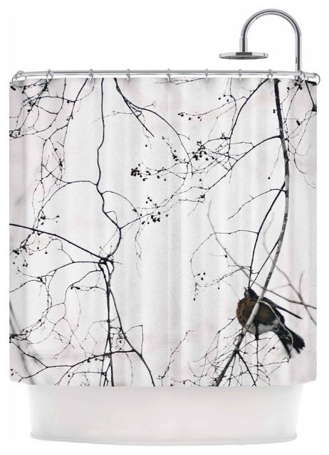 Qing Ji Vintage Bird At Dusk Black White Shower Curtain