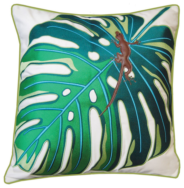 Outdoor Sunbrella Palms With Lizard Square Pillow