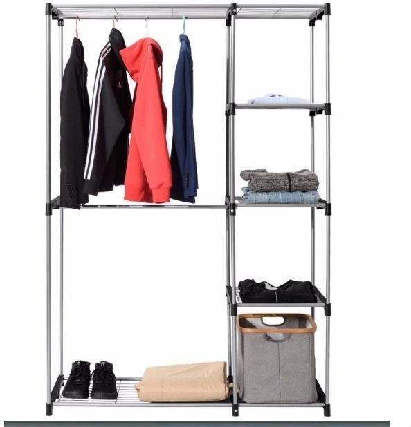 Portable 68-inch Clothes Hanger Bedroom Closet Organizer Shelving Unit