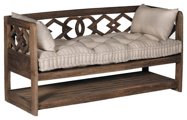 Gabby Modena Linen Tufted Wooden Bench Mediterranean