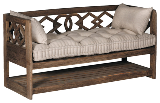 Gabby Modena Linen Tufted Wooden Bench Traditional Accent And Storage  Benches