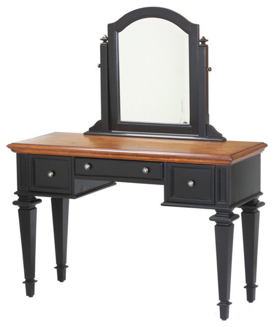 americana vanity and mirror set black and brown traditional bedroom makeup vanities by. Black Bedroom Furniture Sets. Home Design Ideas