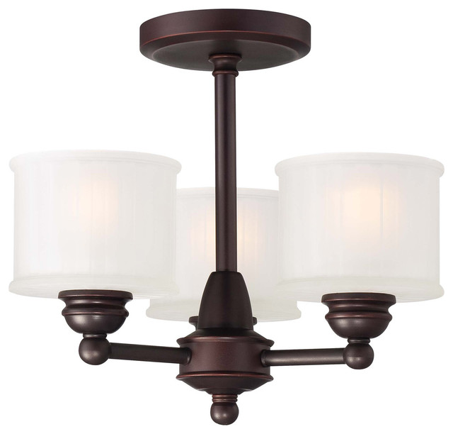 1730 Series 3-Light Semi-Flush Mounts, Lathan Bronze.