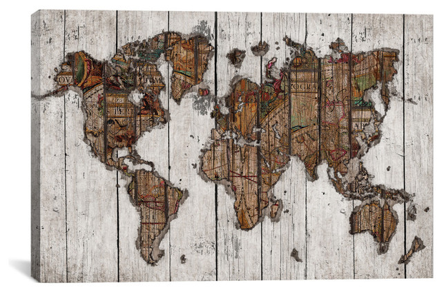"""""""wood Map"""" By Diego Tirigall, 3 Panel Set, 40""""x60""""."""