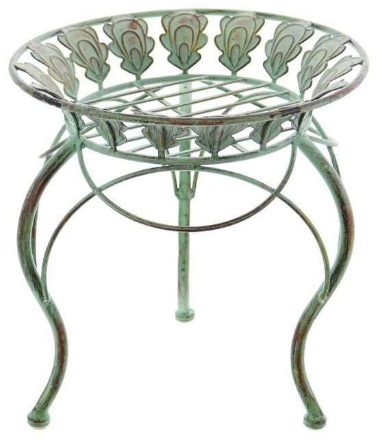 "13"" Round Metal Plant Stand with Peacock Tail Motif and Curved Legs"