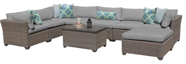 Monterey 9 Piece Outdoor Wicker Patio Furniture Set 09b, Gray