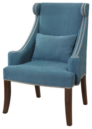 Peacock Contemporary Wingback Accent Chair With Chrome