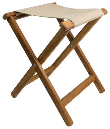 Perfect Teak Framed Folding Camp Stool With Khaki Canvas Seat Contemporary Outdoor  Folding Chairs