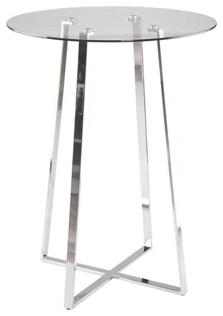 Eurostyle Ursula B Round Glass Bar Table W/ Chromed Steel Base