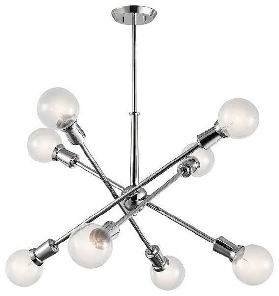 Armstrong 8-Light Chandeliers Chrome  sc 1 st  Houzz & Armstrong Chandeliers - Midcentury - Chandeliers - by LBC Lighting