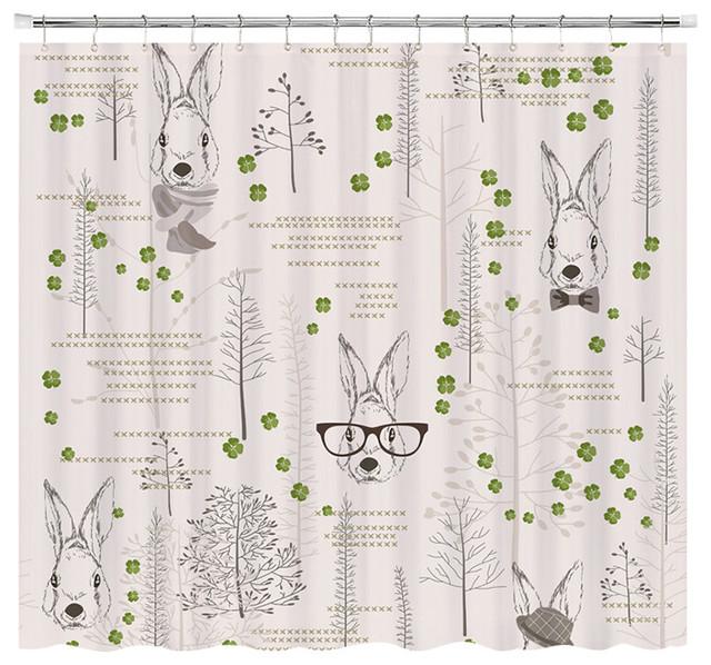 Lucky Rabbit Shower Curtain