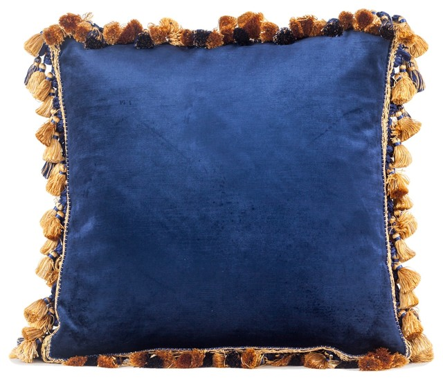 Amazing Blue Velvet Throw Pillow With Trim Luxury Velvet Pillow With Gold Trim 18X18 Theyellowbook Wood Chair Design Ideas Theyellowbookinfo
