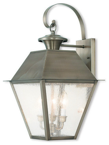 Mansfield Outdoor Wall Lantern, Vintage Pewter - Traditional - Outdoor Wall Lights And Sconces ...