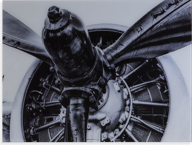 Old Aircraft Propeller Engine Glass Wall Art, Black and White