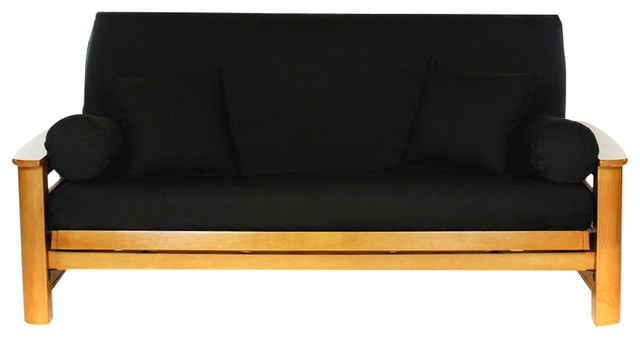 Solid Canvas Futon Cover Black