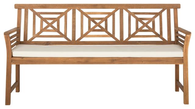 Safavieh Del Mar Indoor/outdoor 3-Seat Bench, Teak Brown And Beige.