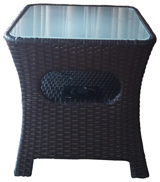 Rattan Bluetooth Audio Table With Led Traditional