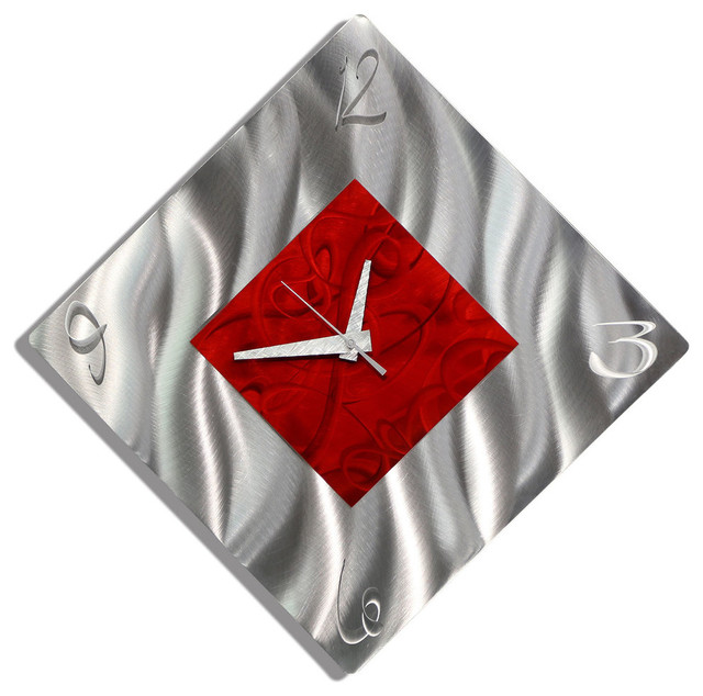 Silver and Red Diamond Metal Wall Clock, Functional Art, \