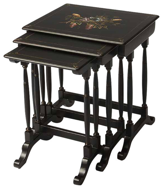 Black Floral Painted Wooden Heirloom Nesting Tables With