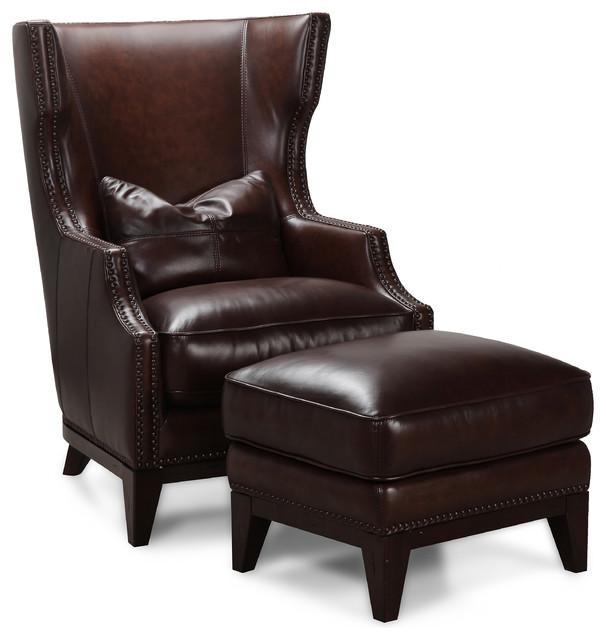 Simon Li Antique Espresso Leather Accent Chair And Ottoman