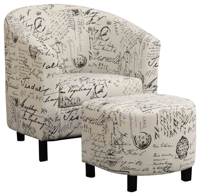 Transitional Accent Chair And Ottoman French Script