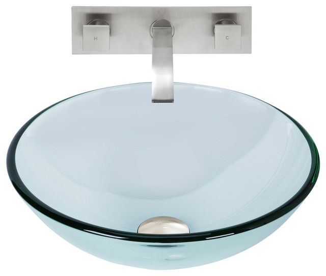 Vigo Crystalline Glass Vessel Sink And Titus Wall Mount Faucet Set.