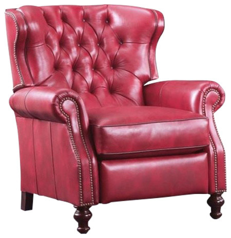 Mary Claire Tufted Leather Recliner, Red - Traditional - Recliner ...