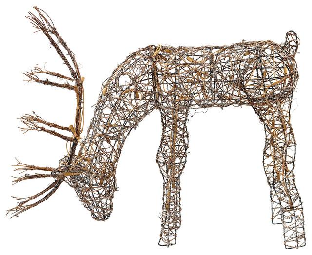 """25"""" Grazing Rattan Reindeer with 50 Halogen Lights, Plug In"""
