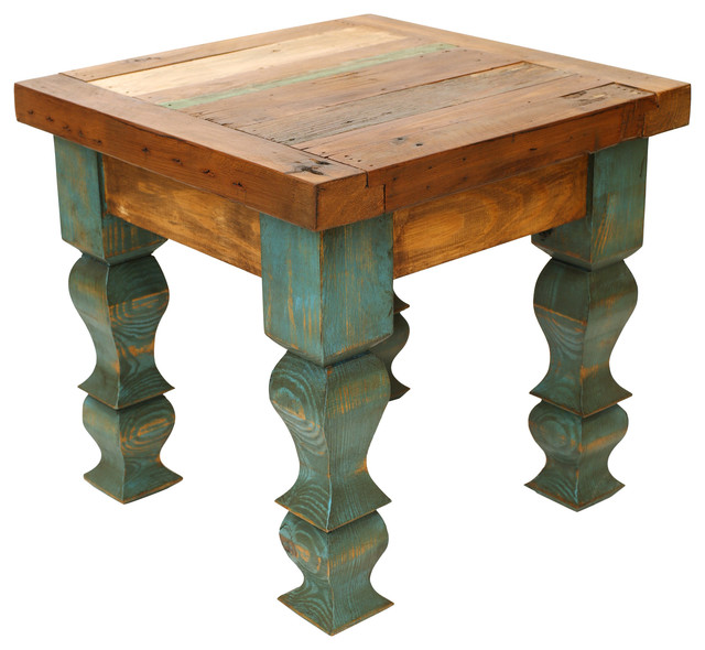detailed look 98d1c 1b73d Rustic Old Door End Table, Turquoise