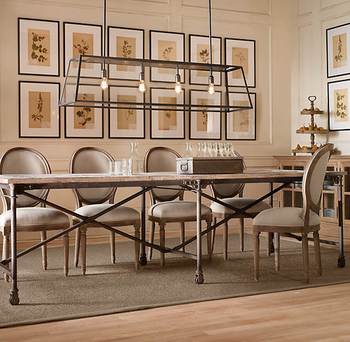 What size linear pendant over long dining room table?