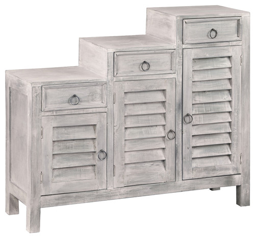 Cottage Three Tiered Shutter Cabinet, Distressed Light Gray