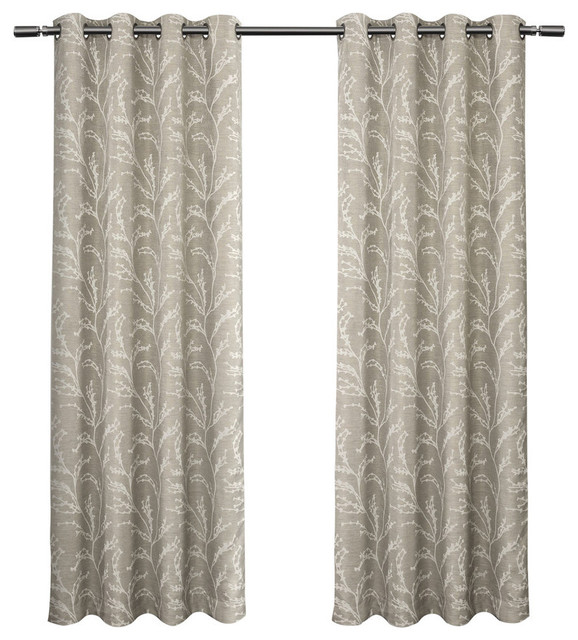 "Kilberry Blackout Grommet Top Curtain Panels, Set Of 2, Dove Grey, 52"" X 84""."