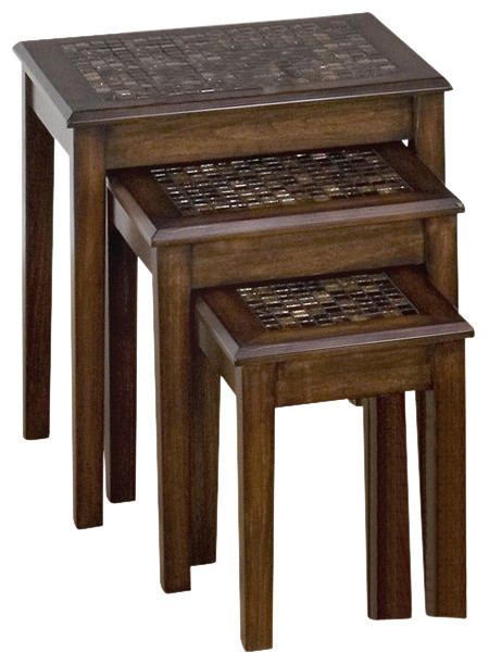 baroque nesting tables with mosaic tile inlay brown tablesets