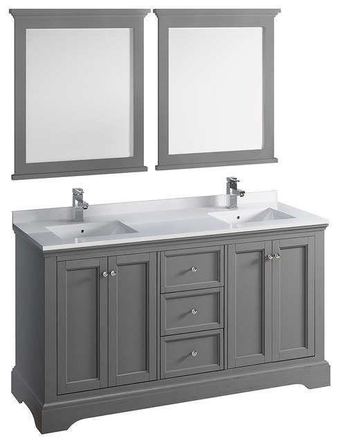 Traditional double sink bathroom vanities Grey Fresca Windsor 60 Houzz Fresca Windsor 60