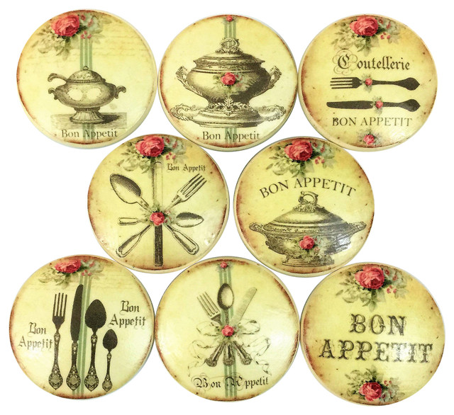 8 Piece Set French Bon Appetit Oversized Knobs - Traditional - Cabinet And Drawer Knobs - by ...