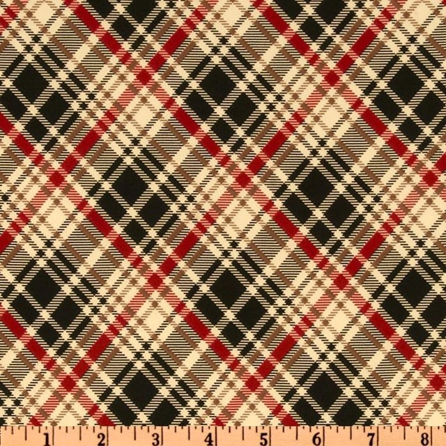 Stretch Jersey ITY Knit British Plaid Natural/Red/Black