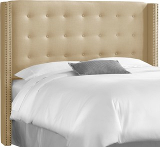 King Nail Button Tufted Wingback Headboard, Linen Sandstone