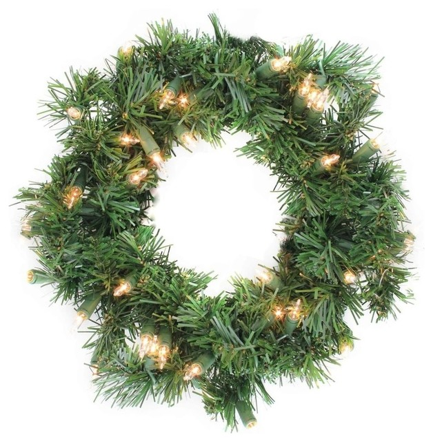 """10"""" Pre-Lit Deluxe Windsor Pine Artificial Christmas Wreath, Clear Lights."""