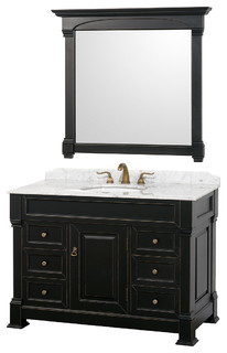 Traditional bathroom vanities with white scheme