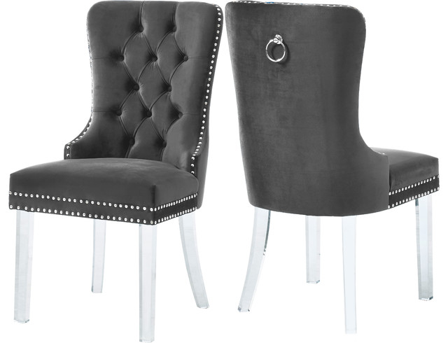Miley Grey Velvet Dining Chair, Set Of 2, Grey by Meridian Furniture