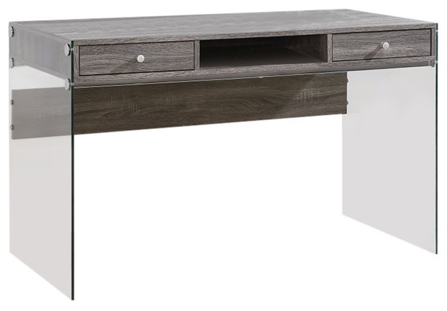 Modern Metal Writing Desk With Glass Sides, Clear And Gray.