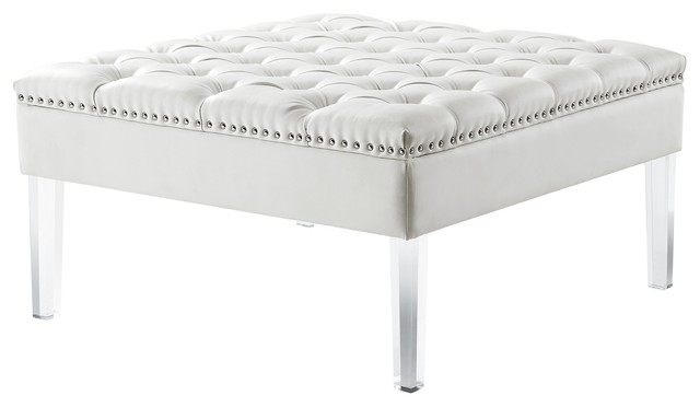 Amazing Fernanda Pu Leather Tufted With Nailhead Trim Acrylic Legs Ottoman Cream White Caraccident5 Cool Chair Designs And Ideas Caraccident5Info