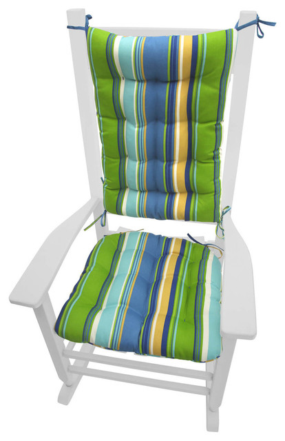 Westport Cabana Stripe Blue Porch Rocker Cushions, Latex Foam Fill  Contemporary Outdoor Cushions