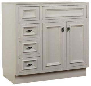 Jsi danbury white 36 w bathroom vanity base left hand drawers traditional bathroom vanities for 36 bathroom vanity left hand drawers