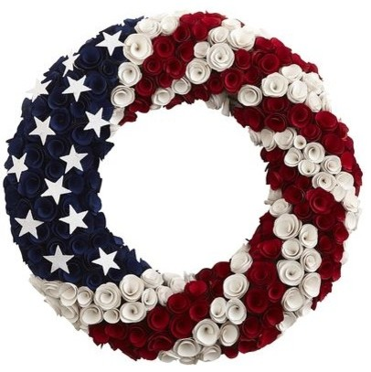 Patriotic Wood Curl WreathContemporaryWreaths And Garlands