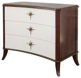 Klismos 3 Drawer Cabinet, Walnut W, Ivory Doors