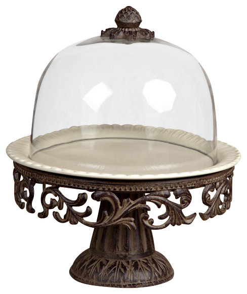 gg collection acanthus cake pedestal with glass dome - Gg Collection