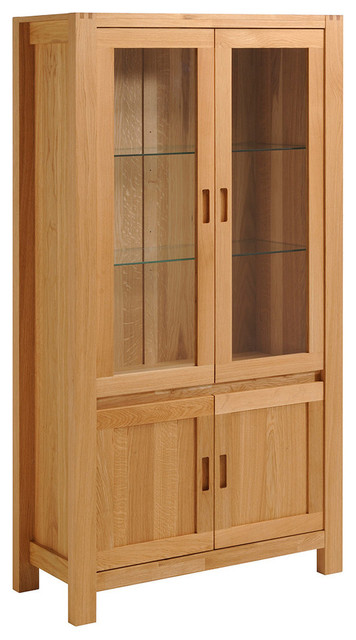 Ethan French Oak Glass Door Cabinet With Shelves.