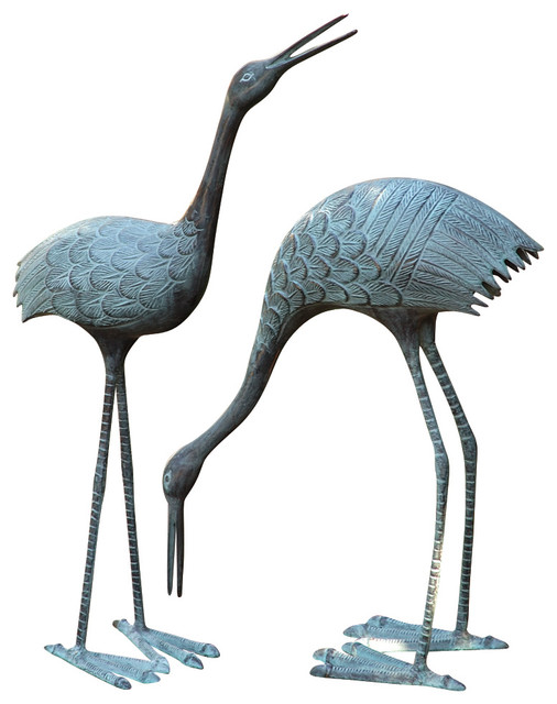 Spi Stately Cranes Garden Sculpture Set Of 2 Garden Statues And Yard Art Houzz