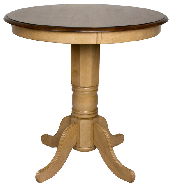 Brookpond Round Pub Pedestal Table Traditional Indoor Pub And Bistro Tables